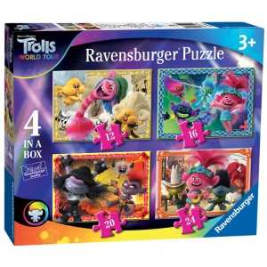 Ravensburger DreamWorks Trolls World Tour 4 In A Box - Sale