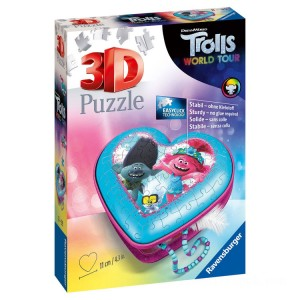 Ravensburger DreamWorks Trolls World Tour Heart Shaped 3D Puzzle - 54pcs. - Sale