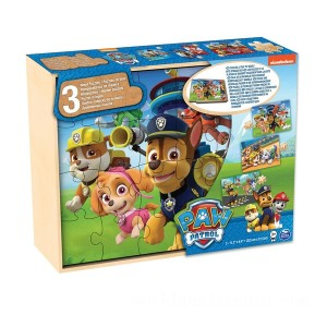 PAW Patrol  3 Pack Wooden Puzzles in Wood Storage Tray - Sale